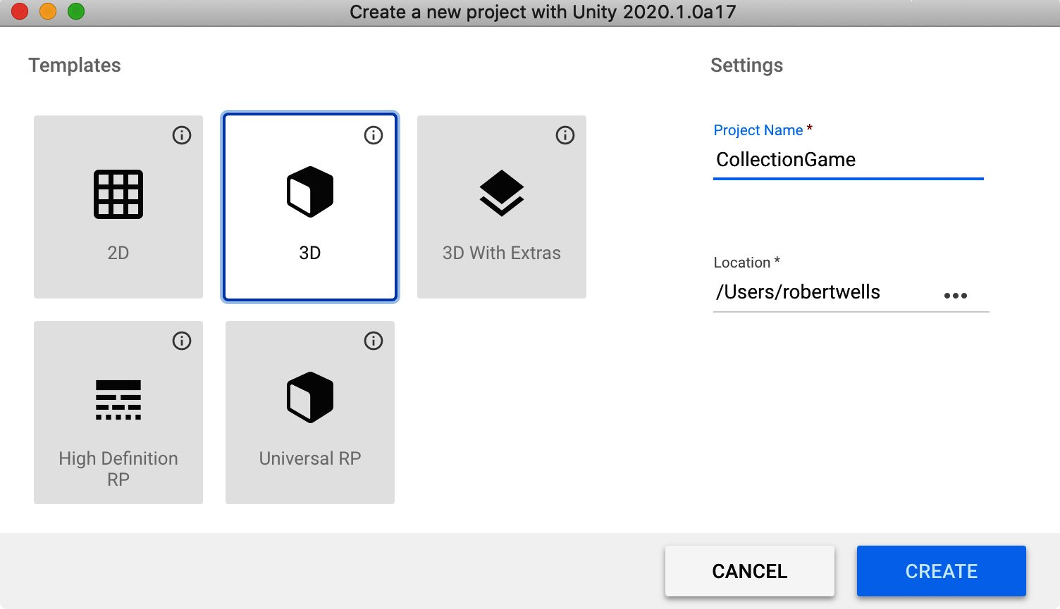 Figure 1.4 – Creating a new project