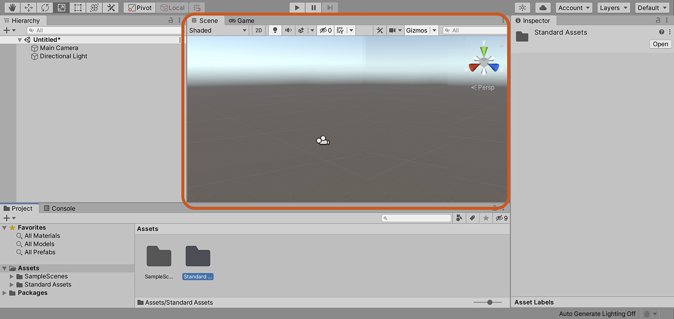 Figure 1.14 – The Scene tab displays a preview of a 3D world