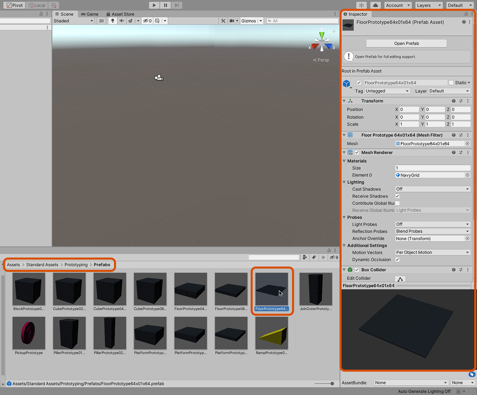 Figure 1.16 – The Standard Assets/Prototyping folder contains many meshes for quick scene building