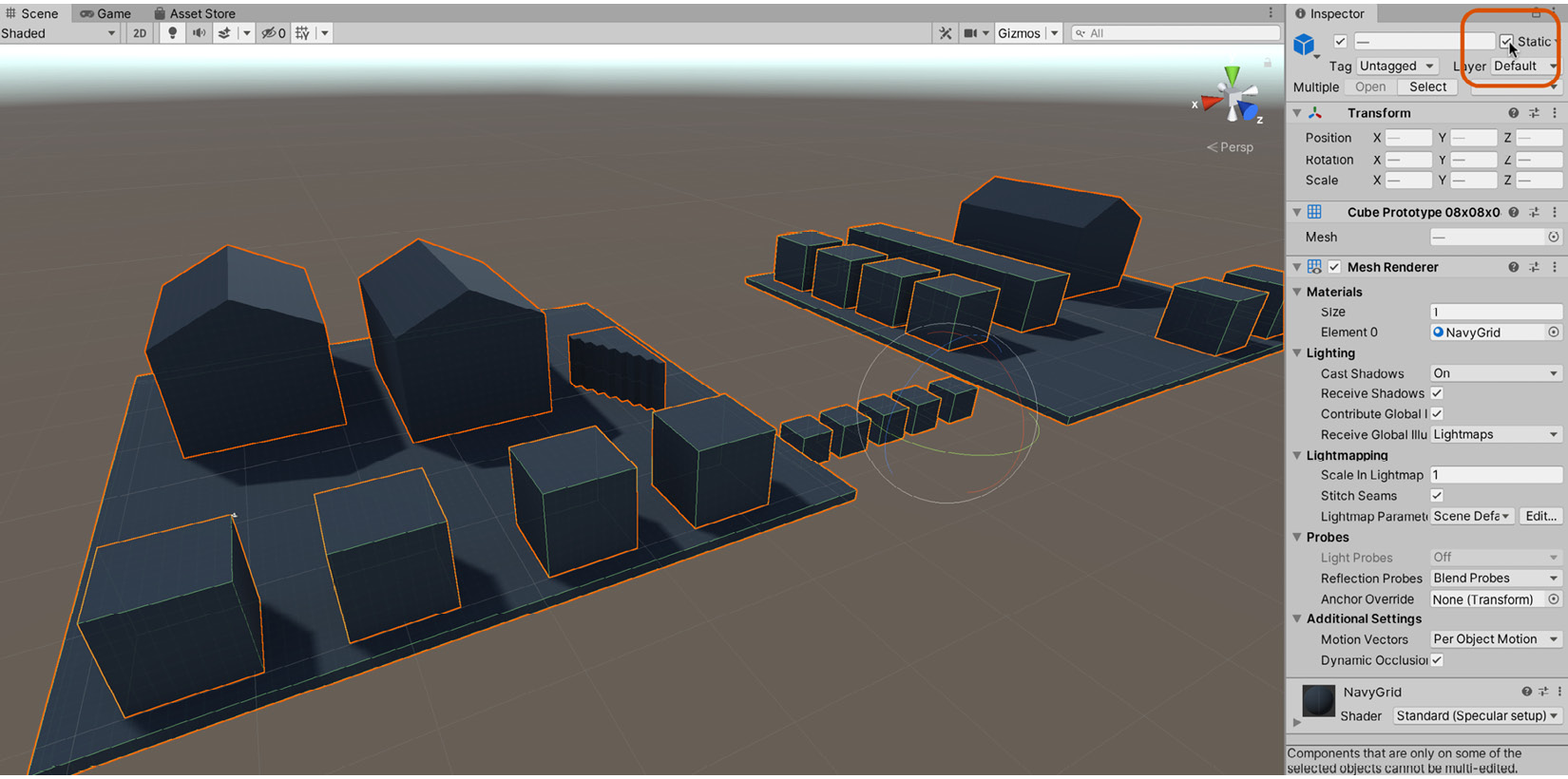 Figure 1.32 – Enabling the Static option for multiple non-movable objects  improves lighting and performance
