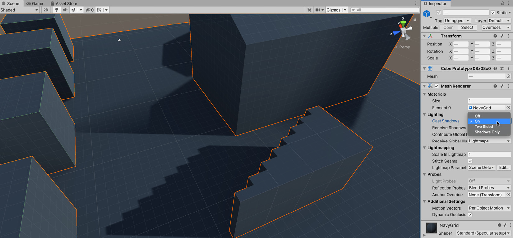 Figure 1.33 – Enabling cast shadows from the Mesh Renderer component