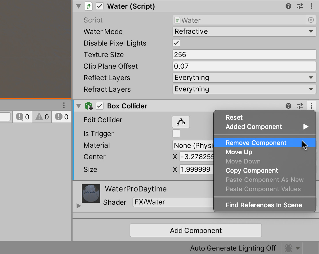 Figure 1.44 – Removing a component from a GameObject