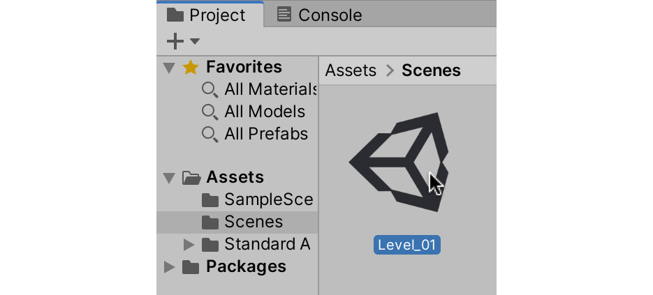 Figure 1.48 – Saved scenes are added as assets within your project