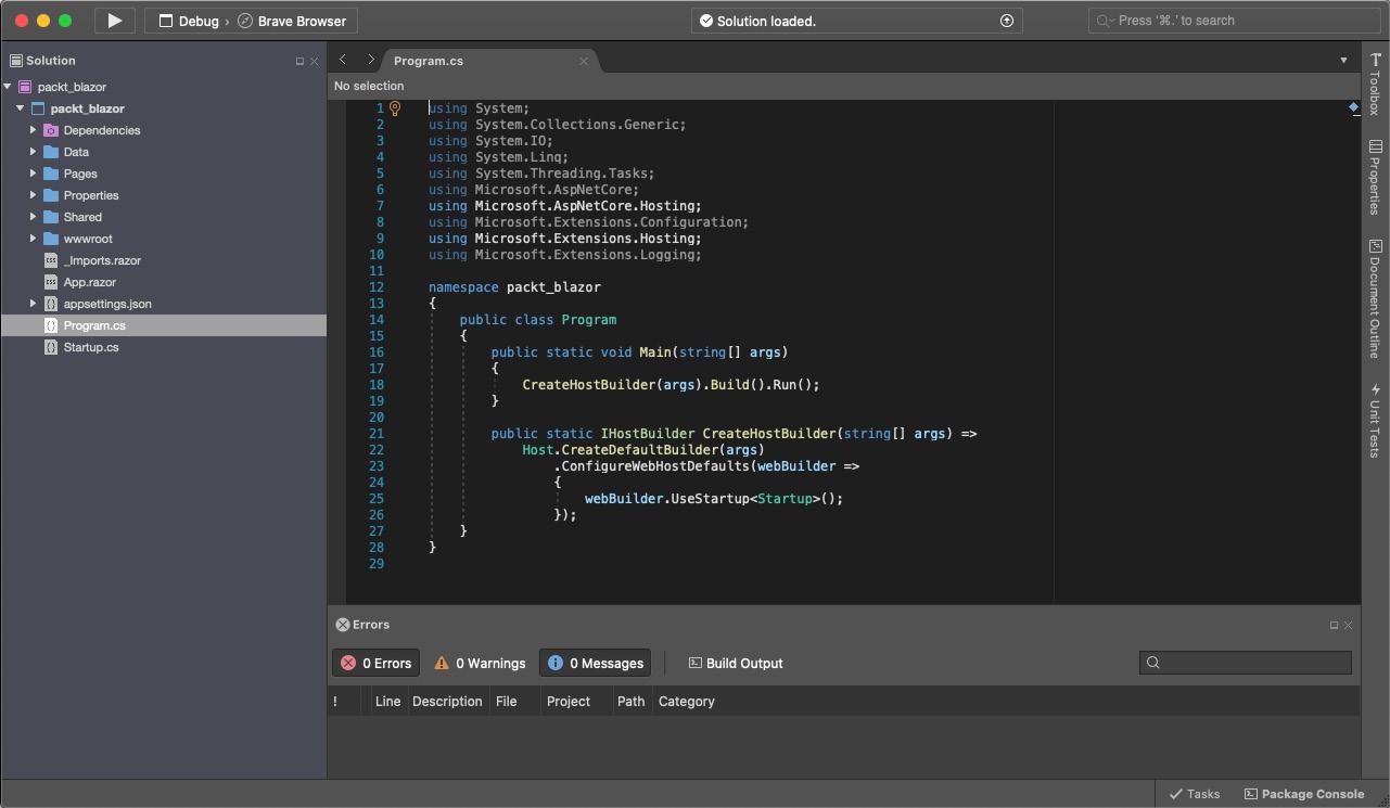 Figure 1.4 – Visual Studio 2019 – Mac