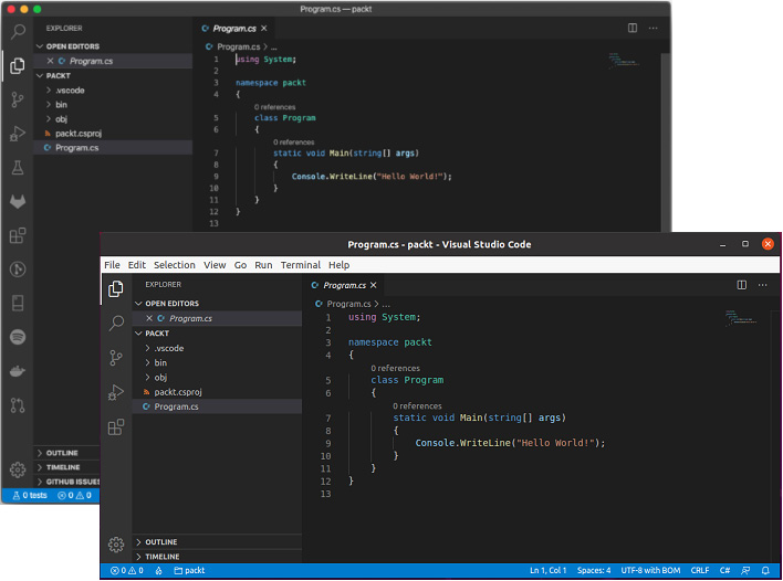 Figure 1.7 – VS Code on Mac (upper-left) and Linux (lower-right)