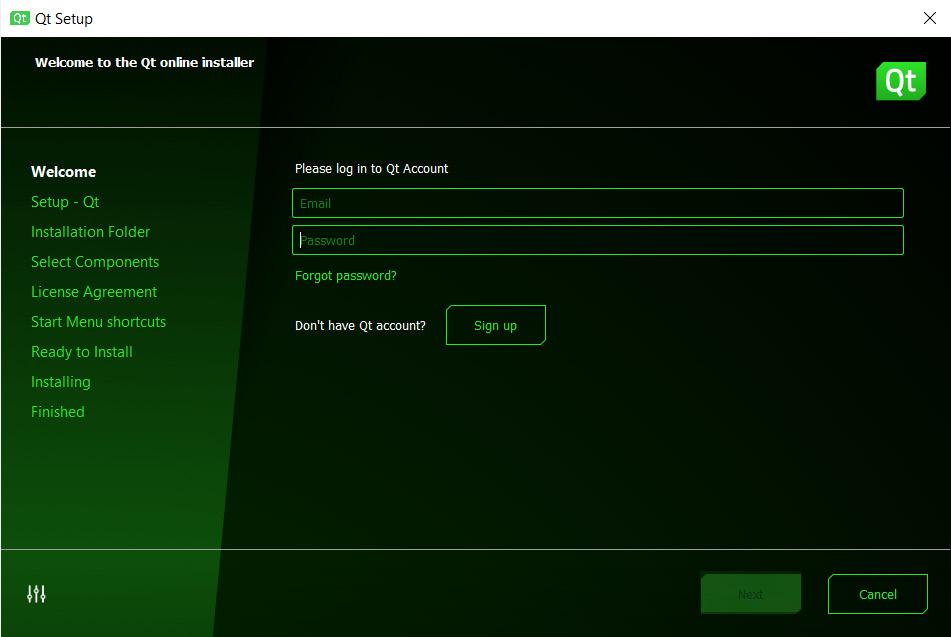 Figure 1.2 – Login screen of the installer