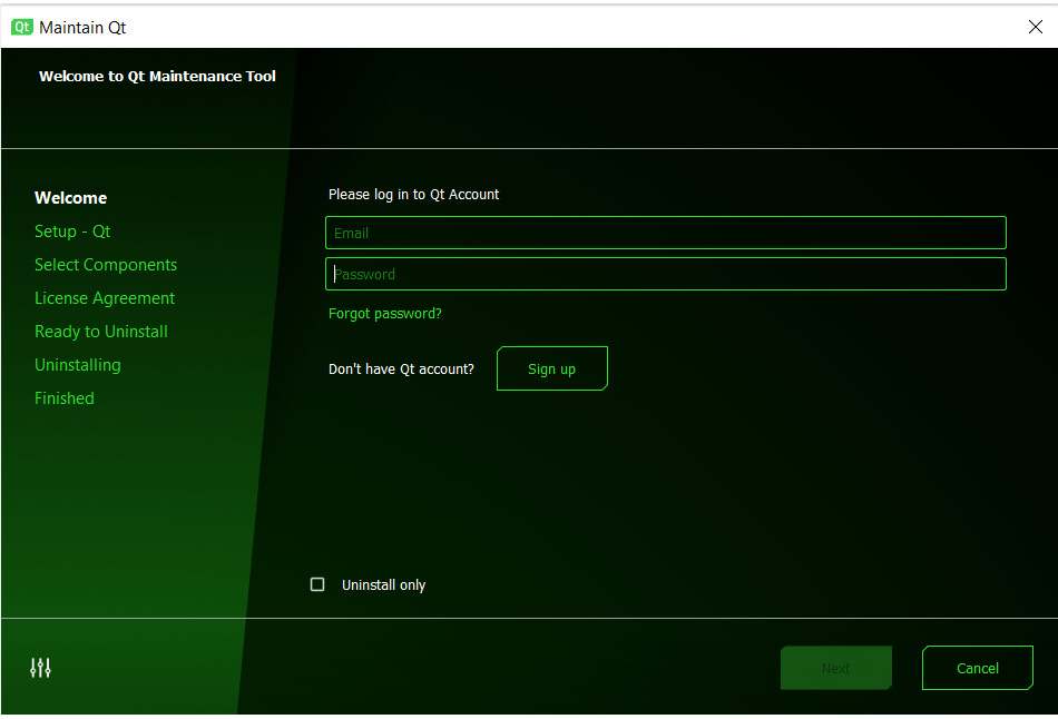Figure 1.5 – Welcome screen of the Maintenance Tool