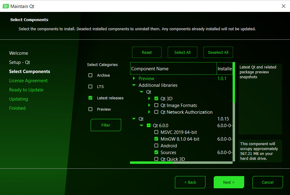 Figure 1.7 – Component selection screen