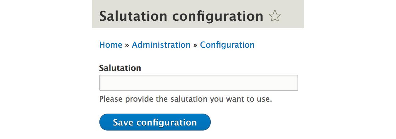 Figure 2.3: Salutation configuration form