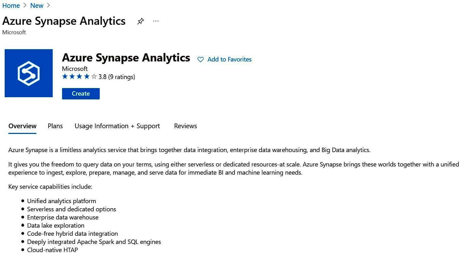 Figure 1.3 – A screenshot of the Azure Synapse Analytics page in Azure Marketplace
