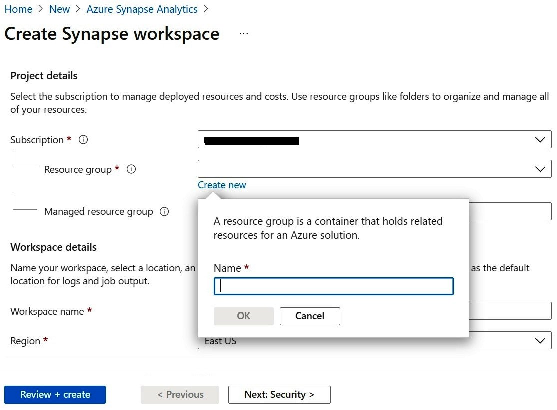 Figure 1.4 – A screenshot highlighting the field to provide a Resource group name