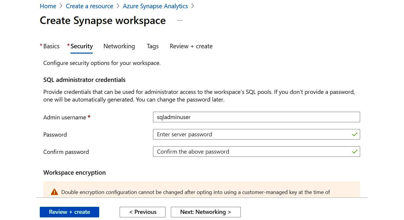 Figure 1.8 – A screenshot of the Security + networking form for Azure Synapse