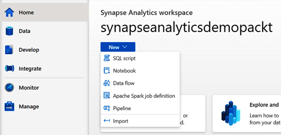 Figure 1.14 – Synapse Studio highlighting the New button at the top of the screen