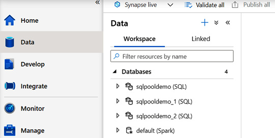 Figure 1.15 – A screenshot of the Data hub on Synapse Studio