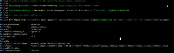 Figure 2.1 – Creating a new Azure SQL server