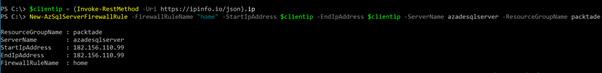 Figure 2.3 – Creating a new Azure SQL Server firewall rule