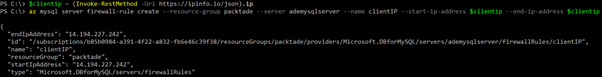 Figure 2.7 – Creating a firewall rule for the Azure MySQL Server