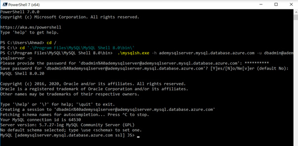 Figure 2.8 – Connecting to the Azure MySQL server