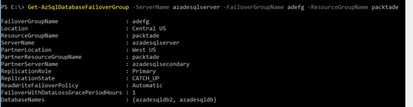 Figure 2.15 – Getting the auto-failover group details