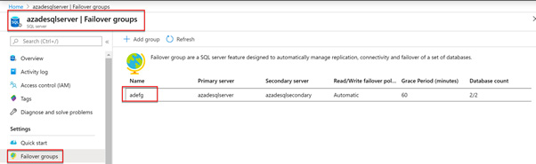 Figure 2.16 – Viewing an auto-failover group in the Azure portal