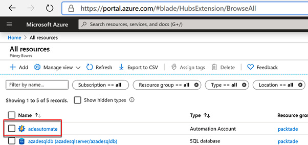 Figure 2.20 – Opening the Azure Automation account