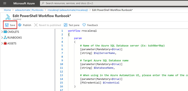 Figure 2.23 – Saving and publishing the runbook