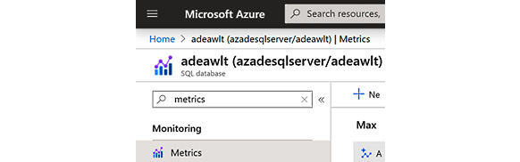 Figure 2.32 – Opening the Metrics section in the Azure portal