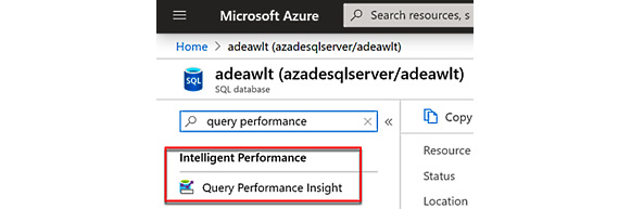 Figure 2.35 – Selecting Query Performance Insight for the SQL database