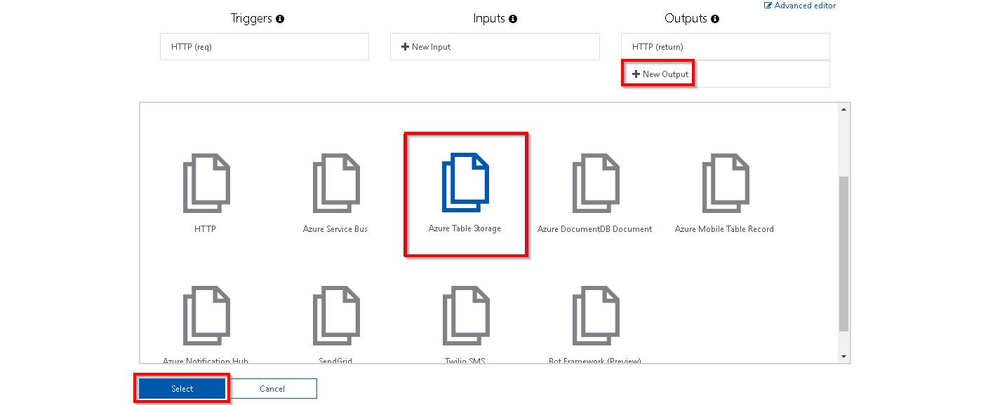 Choosing Azure Table Storage output binding