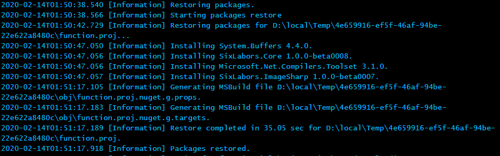 Viewing the logs, showing the installation of the Nugetpackages