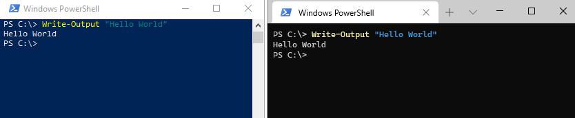 Figure 1.1 – PowerShell, running in both the old conhost on the left, and the new Windows Terminal on the right