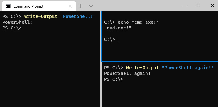 Figure 1.3 – The new Windows Terminal with multiple shells open in a single tab
