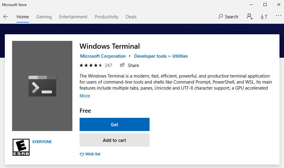 Figure 1.12 – The Windows Terminal available in the Microsoft Store