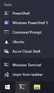 Figure 1.14 – The Windows 10 Jump List for the Windows Terminal