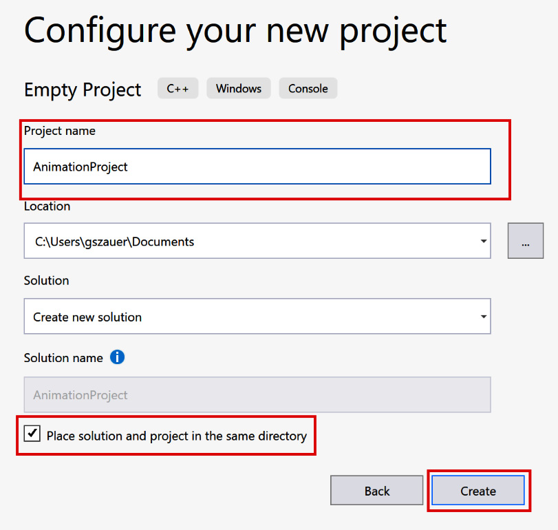 Figure 1.3: Specifying a new project name