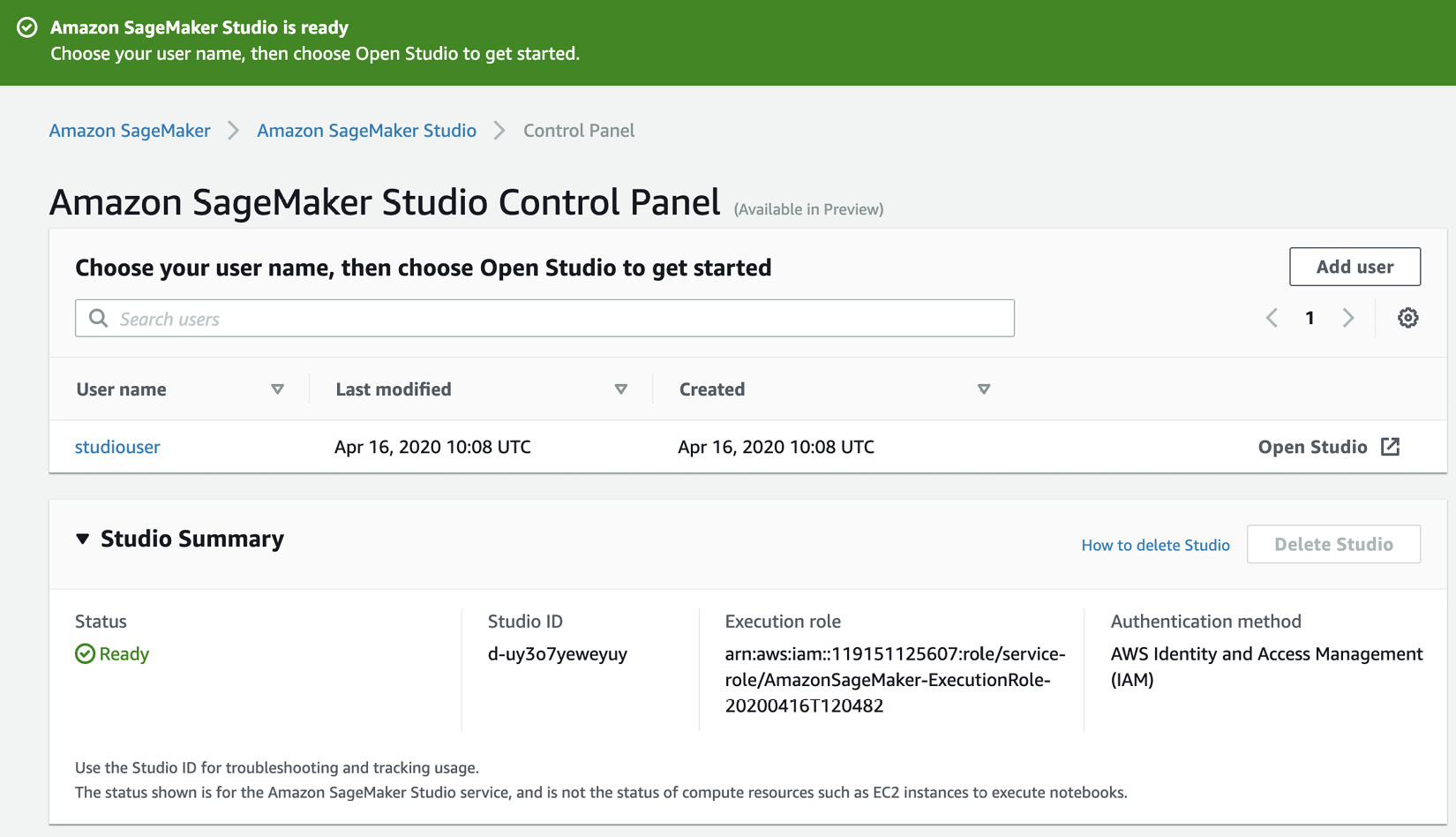 Figure 1.20 Launching SageMaker Studio