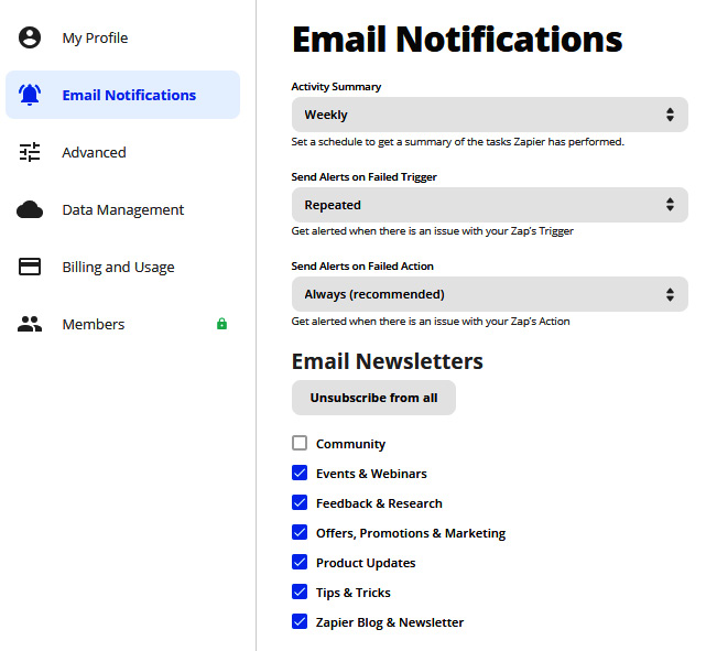 Figure 1.10 – Layout of the Email Notifications area