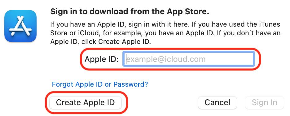 Figure 1.1 – Apple ID creation dialog box