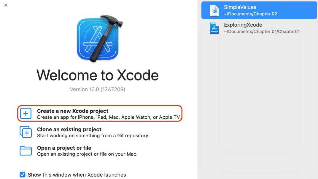 Figure 1.2 – Welcome to Xcode screen