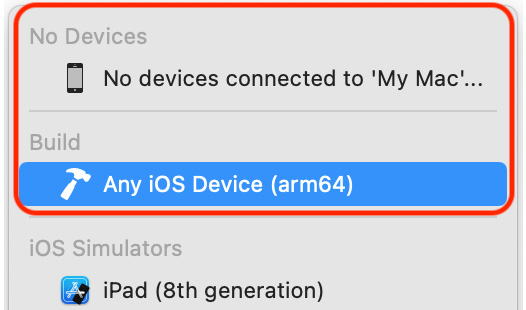 Figure 1.12 – Xcode Scheme menu with Any iOS Device (arm64) selected