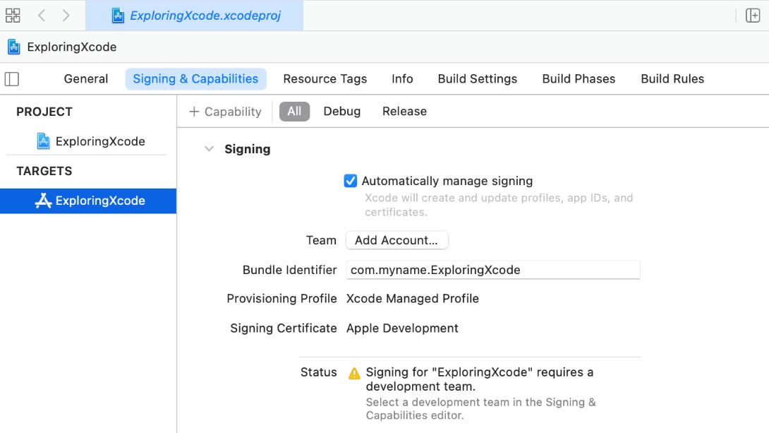 Figure 1.14 – Xcode Signing & Capabilities pane