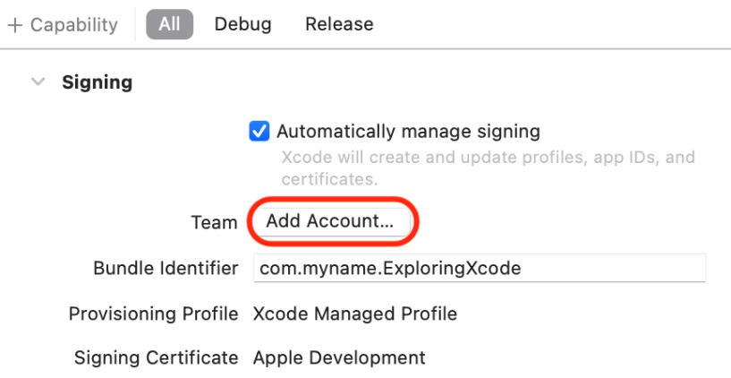 Figure 1.15 – Xcode Signing & Capabilities pane with Add Account button selected