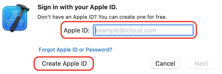 Figure 1.16 – Apple ID creation dialog box