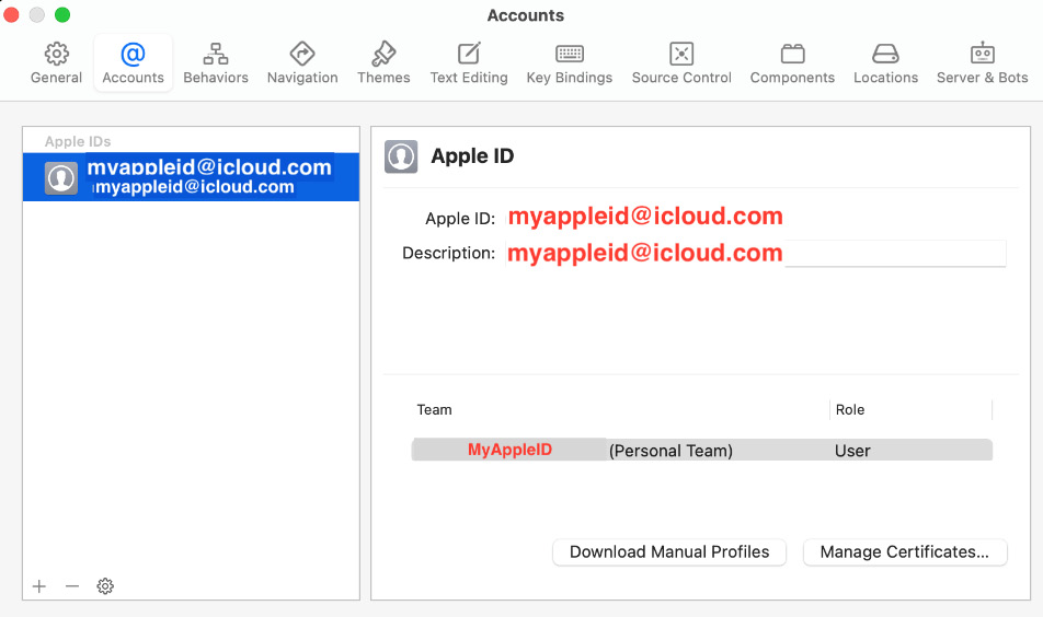 Figure 1.17 – Accounts pane in Xcode preferences