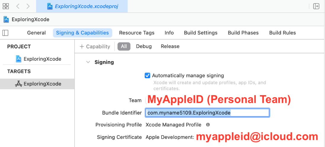 Figure 1.18 – Xcode Signing & Capabilities pane with account set