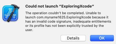 "Figure 1.19 – Could not launch ""ExploringXcode"" dialog box"