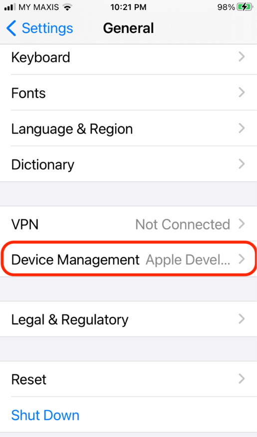 Figure 1.20 – Device Management setting in iOS Settings