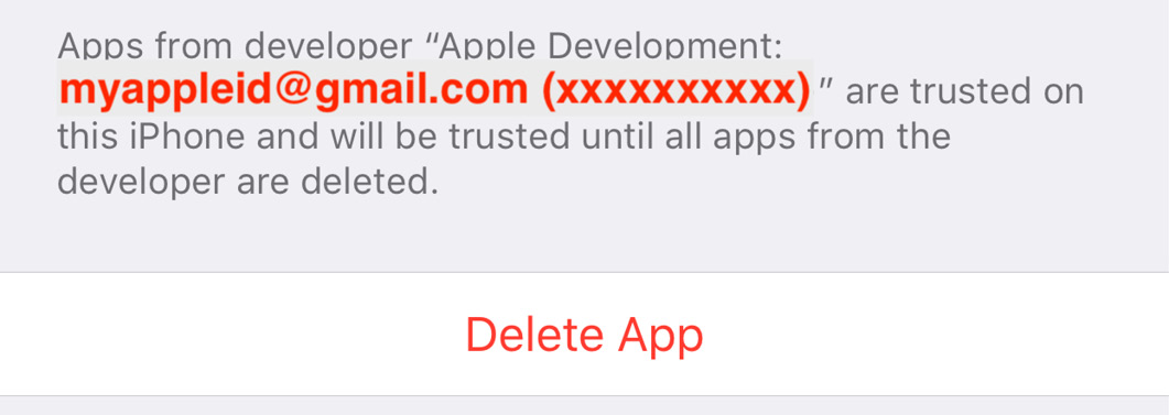 Figure 1.24 – Apple Development section with trusted certificate