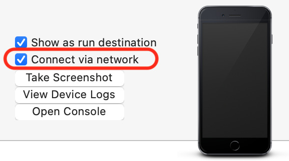 """Figure 1.26 – Xcode Devices and Simulators window with """"Connect via network"""" checked"""