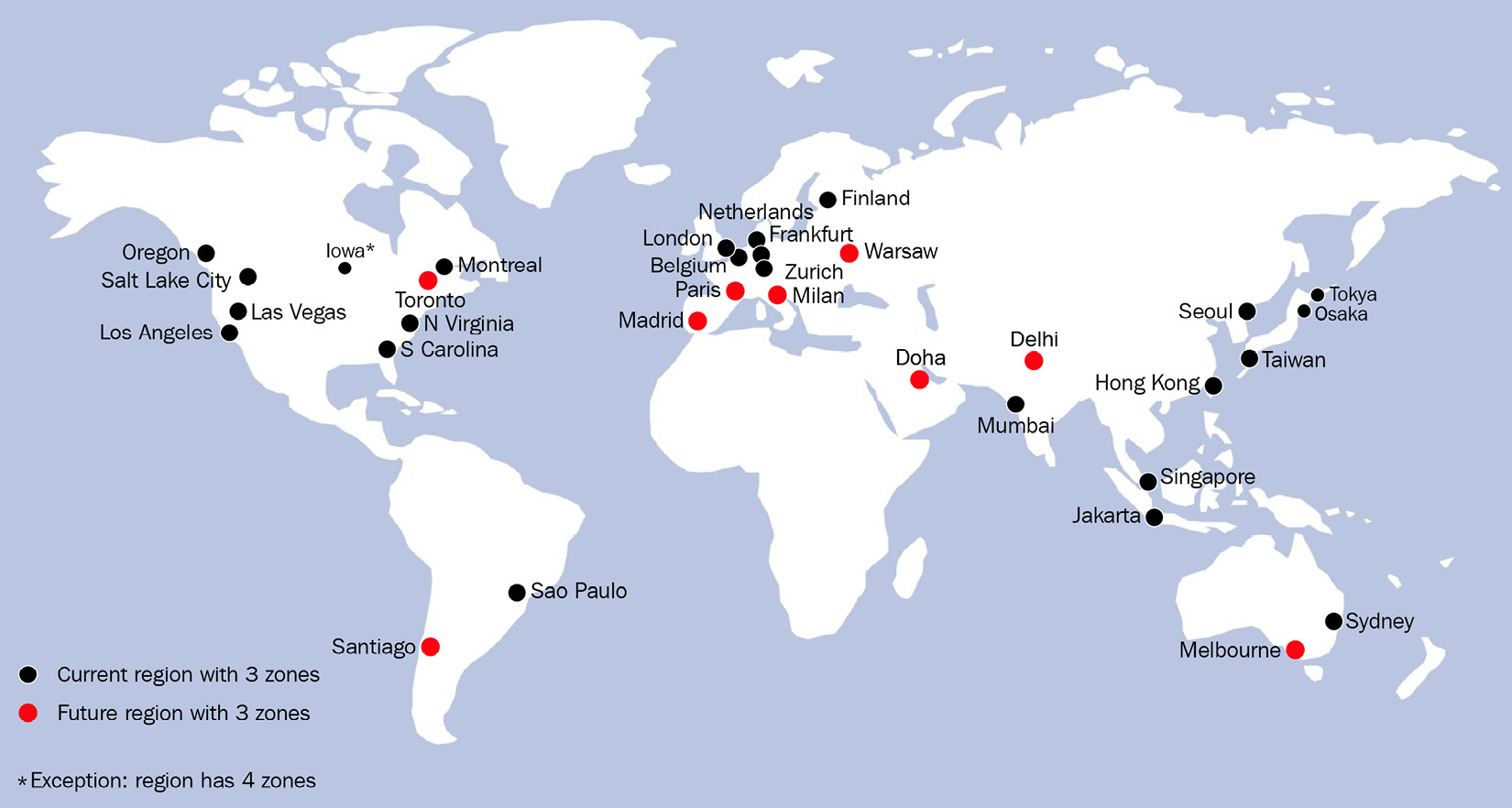 Figure 1.2 – A map of Google's global availability